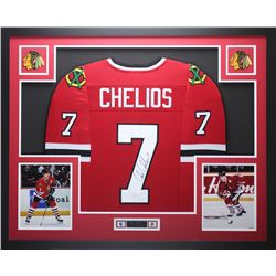 "Chris Chelios Signed Blackhawks 35"" x 43"" Custom Framed Jersey (JSA COA)"