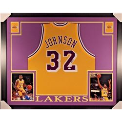 Magic Johnson Signed Lakers 35x43 Custom Framed Jersey JSA COA)