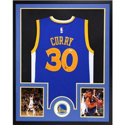 Stephen Curry Signed Warriors 34x42 Custom Framed Jersey (PSA COA)