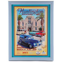 "Jim Krogle Signed AP ""Huntington 9th Annual Beachcruiser Meet"" 20.25x26.25 Custom Framed Lithograph"