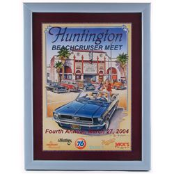 "Jim Krogle Signed AP ""Huntington Fourth Annual Beachcruiser Meet"" 20.25x26.25 Custom Framed Lithogra"
