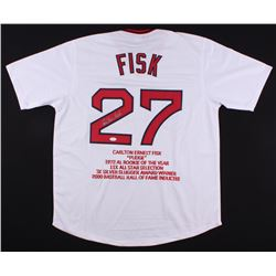 Carlton Fisk Signed Red Sox Career Highlight Stat Jersey (JSA COA)