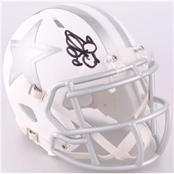 Emmitt Smith Signed Cowboys Custom Matte White ICE Mini Speed Helmet (JSA COA)