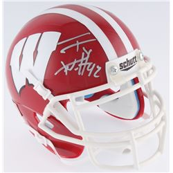 T.J. Watt Signed Wisconsin Badgers Mini-Helmet (JSA COA  Watt Hologram)