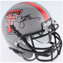 Michael Crabtree Signed Texas Tech Mini-Helmet (JSA COA)