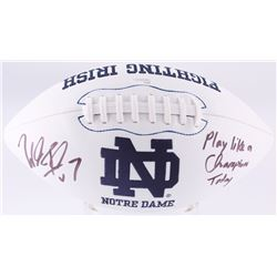 "Will Fuller Signed Notre Dame Fighting Irish Logo Football Inscribed ""Play Like a Champion Today"" (J"