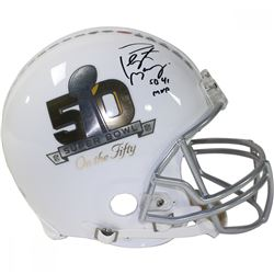 "Peyton Manning Signed Super Bowl 50 Full-Size Authentic On-Field Helmet Inscribed ""SB 41 MVP"" (Fanat"