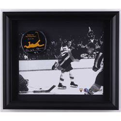"Bobby Orr Signed 'The Flying Goal' 13.5"" x 11.5"" Custom Framed Commemorative Hockey Puck Display (Gr"