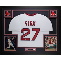 "Carlton Fisk Signed Red Sox 35"" x 43"" Custom Framed Jersey (JSA COA)"