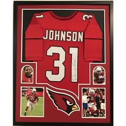 David Johnson Signed Cardinals 34x42 Custom Framed Jersey (JSA COA)