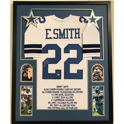 Emmitt Smith Signed Cowboys 34x42 Custom Framed Career Highlight Stat Jersey (Beckett COA)