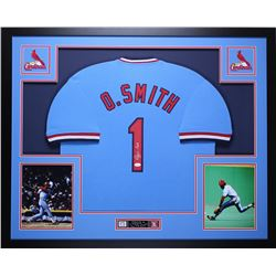 "Ozzie Smith Signed Cardinals 35"" x 43"" Custom Framed Jersey (JSA COA)"