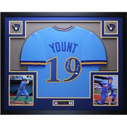 "Robin Yount Signed Brewers 35"" x 43"" Custom Framed Jersey Inscribed ""HOF 99"" (JSA COA)"