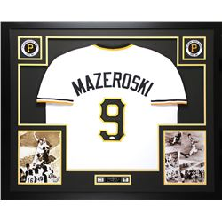 "Bill Mazeroski Signed Pirates 35"" x 43"" Custom Framed Jersey (JSA COA)"