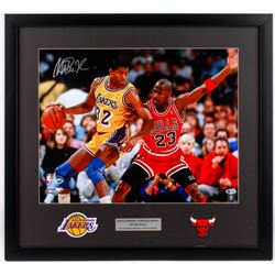 Magic Johnson Signed Lakers 1991 NBA Finals 24x26 Custom Framed Photo Display with Michael Jordan  (