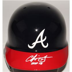 "Chipper Jones Signed Braves Authentic Full-Size Batting Helmet Inscribed ""HOF 18"" (JSA COA)"