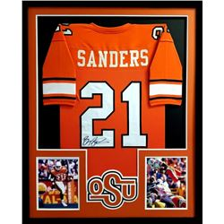 Barry Sanders Signed Oklahoma State Cowboys 34x42 Custom Framed Jersey (TriStar)