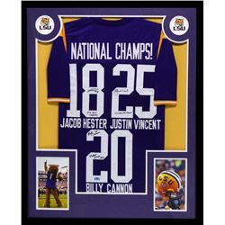 Billy Cannon, Jacob Hester  Justin Vincent Signed LSU Tigers 34x42 Custom Framed Jersey With (3) Ins