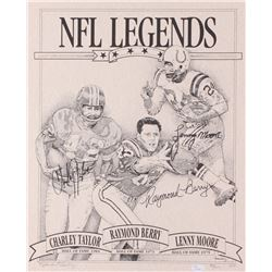"""Charley Taylor, Raymond Berry,  Lenny Moore Signed LE """"NFL Legends"""" 16x20 Lithograph (JSA COA)"""