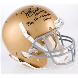 """Tim Brown Signed Notre Dame Fighting Irish Full-Size Helmet Inscribed """"Heisman '87""""  """"Play Like a Ch"""