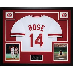 "Pete Rose Signed Reds 35x43 Custom Framed Jersey Inscribed ""Hit King"" (JSA COA)"
