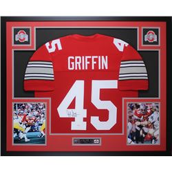"Archie Griffin Signed Ohio State Buckeyes  35x43 Custom Framed Jersey Inscribed ""H.T. 1974/75"" (JSA"