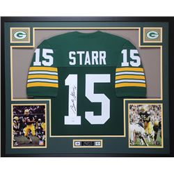 Bart Starr Signed Packers 35x43 Custom Framed Jersey (JSA LOA)
