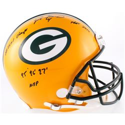 Brett Favre Signed Packers Full-Size Authentic On-Field Helmet With (3) Career Stat Inscriptions (Ra