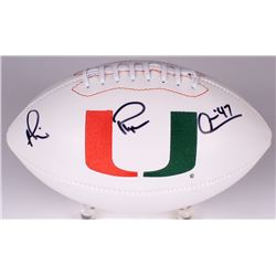 "Michael Irvin Signed  Miami Hurricanes Logo Football Inscribed ""Playmaker"" (Radtke COA)"