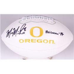 "Marcus Mariota Signed Oregon Ducks Logo Football Inscribed ""Heisman '14"" (Radtke COA)"
