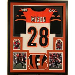 Joe Mixon Signed Bengals 34x42 Custom Framed Jersey Display (JSA COA)