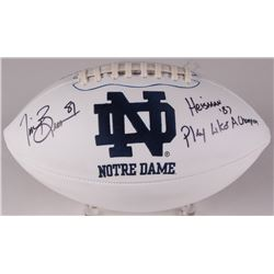 "Tim Brown Signed Notre Dame Fighting Irish Logo Football Inscribed ""Heisman '87""  ""Play Like A Champ"
