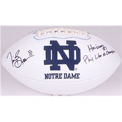 """Tim Brown Signed Notre Dame Fighting Irish Logo Football Inscribed """"Heisman '87""""  """"Play Like A Champ"""