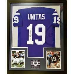 Johnny Unitas Signed Colts 36x44 Custom Framed Jersey (Mounted Memories COA)