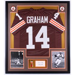 "Otto Graham Signed Browns 34x38 Custom Framed Cut Display Inscribed ""Best Wishes"" (PSA COA)"