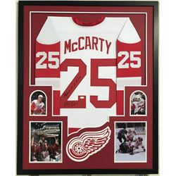 "Darren McCarty Signed Red Wings 34x42 Custom Framed Jersey Inscribed ""Payback Are A B!@#$"" (JSA COA)"
