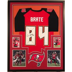 Cameron Brate Signed Buccaneers 34x42 Custom Framed Jersey Display (JSA COA)