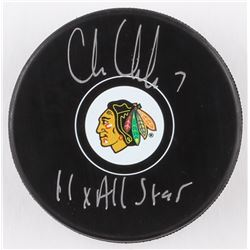 "Chris Chelios Signed Blackhawks Logo Hockey Puck Inscribed ""11x All-Star"" (Schwartz COA)"