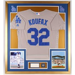 Sandy Koufax Signed Dodgers 34x38 Custom Framed Cut Display with Ring (SGC)