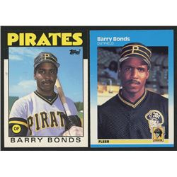 Lot of (2) Barry Bonds Baseball Cards with 1986 Topps Traded #11T  1987 Fleer #604 Barry Bonds RC