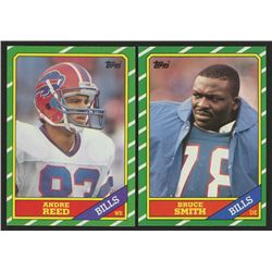 Lot of (2) 1986 Topps Football Cards with #388 Andre Reed RC  #389 Bruce Smith RC