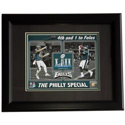 Trey Burton  Nick Foles Eagles Superbowl LII 11x14 Custom Framed Photo Display