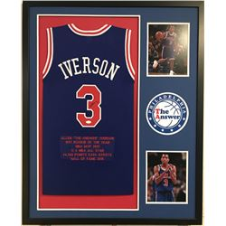 Allen Iverson Signed Pistons 34x42 Custom Framed Jersey Career Hihglight Stat Display (JSA COA)