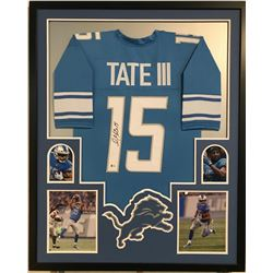 Golden Tate Signed Lions 34x42 Custom Framed Jersey Career Highlight Stat Display (Beckett COA)