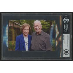 Jimmy Carter  Rosalynn Carter Signed 4x6 Photo (Beckett Encapsulated)