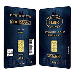 Certified Istanbul Gold Refinery (IGR) 999.9 Solid Gold 0.5 G Bar
