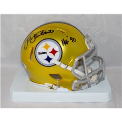 "Jack Lambert Signed Steelers Blaze Speed Mini Helmet Inscribed ""HOF 90"" (JSA COA)"
