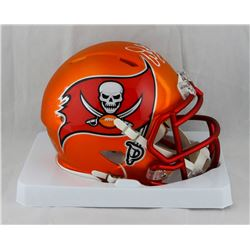 "Warren Sapp Signed Buccaneers Blaze Speed Mini Helmet Inscribed ""HOF-13""  (JSA COA)"