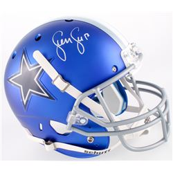 Sean Lee Signed Cowboys Custom Satin Blue Full-Size Helmet (JSA COA)
