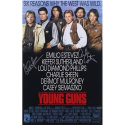 "Emilio Estevez  Charlie Sheen Signed ""Young Guns"" 11x17 Photo (Schwartz COA)"